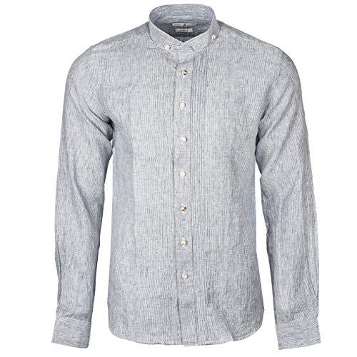 Almsach Trachtenhemd HE 175 | Slim gestreift | Langarm | Herrenhemd Leinen | Slim Fit (S)
