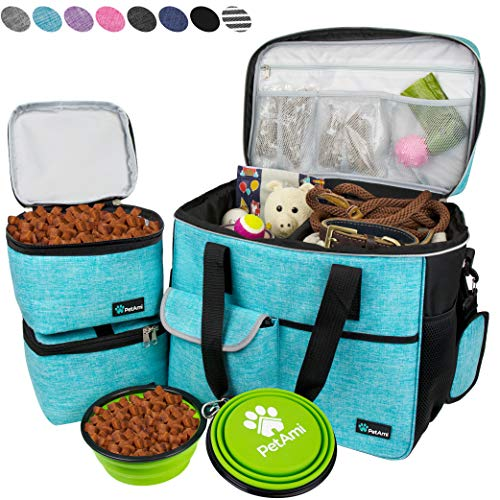 PetAmi Dog Travel Bag | Airline Approved Tote Organizer with Multi-Function Pockets, Food Container Bag and Collapsible Bowl | Perfect Weekend Pet Travel Set for Dog, Cat (Sea Blue, Large)