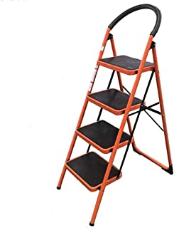 4 Step Ladder Folding Wide Step Steel Ladder 150kg Capacity, Multi Purpose Portable Step Stool for Home,Kitchen, Garden, Office, Warehouse(Red)