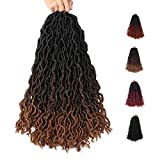 Dec-Mec 6 Packs Gypsy Goddess Fuax locs Crochet Hair 18 Inch 3 Tone Ombre Curly Wavy Twist Braiding Hair Extensions 24 Strands/Pack African Roots (18 Inch, T4/30)