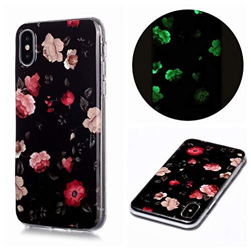 Miagon Leuchtend Luminous Hülle für iPhone XR,Fluoreszierend Licht im Dunkeln Handyhülle Silikon Case Handytasche Stoßfest Schutzhülle,Rosa Blume