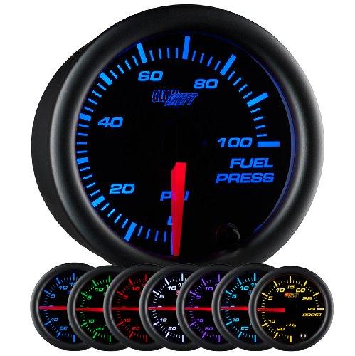 GlowShift Black 7 Color 100 PSI Fuel Pressure Gauge Kit - Includes Electronic Sensor - Black Dial - Clear Lens - for Car & Truck - 2-1/16