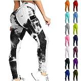 Scrunch Butt Bubble Workout Leggings High Waist Tummy Control for Women Pantalones Levanta Cola De Mujer (Tie-dye, M)