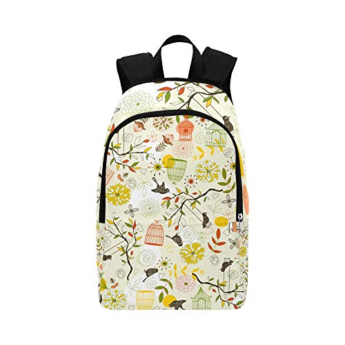 School Bag for Kids Colorful Cute Retro Bird Cage Flower Durable Water Resistant Classic Day Hike Backpack Bag for College Men Best Daypack School Bags for Girls