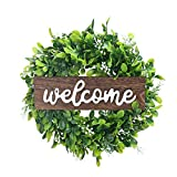 NAHUAA 12 Inch Artificial Green Leaves Wreath Welcom Boxwood Wreath Outdoor Green Wreath for Front Door Home Wedding Window Garden Farmhouse Party Decoration