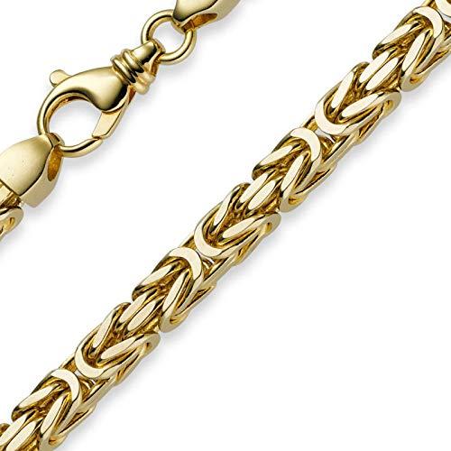 Collana da uomo, catena a maglia bizantina da 7 mm, in oro giallo 750, 60 cm