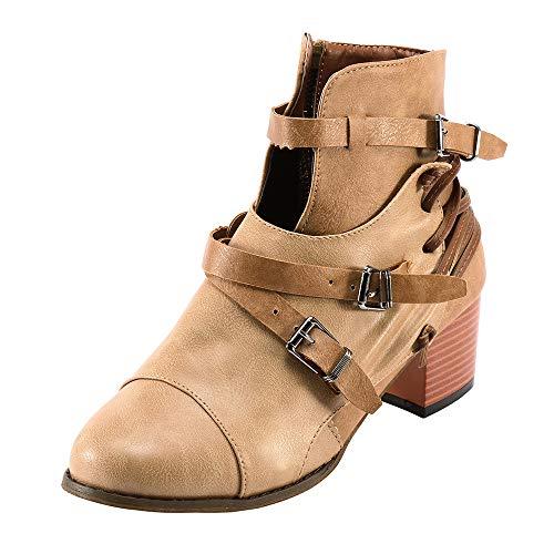 MYMYG Damen Reißverschlus Ankle Boots Frauen-Platz Ferse Schnalle Leder Stiefel Stiefel Schuhe Round Toe Boot Chelsea Boots Ankle Boots mit Halbhohe Blockabsatz