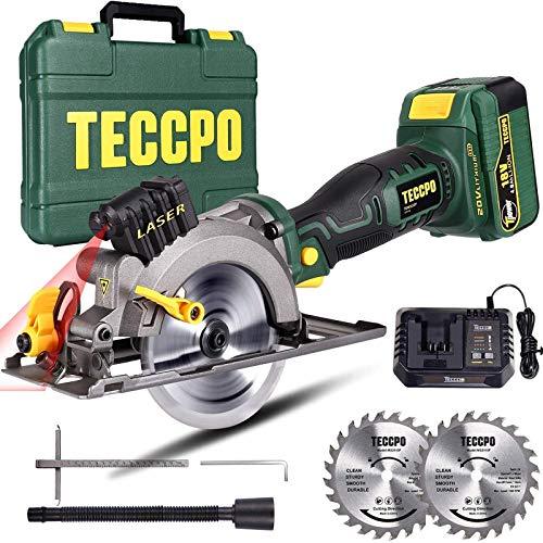 Scie Circulaire sans Fil, TECCPO Scie Circulaire avec Laser, une 18V 4.0Ah Batterie, 1h Chargeur Rapide, 4500RPM, Angle...