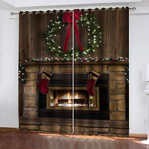 JJDSL tenda corta cucina tende piccola Camino di Natale 229 x 229cm Tende Soggiorno Moderne Elegante 2 Pezzi Tende Salotto con Occhielli