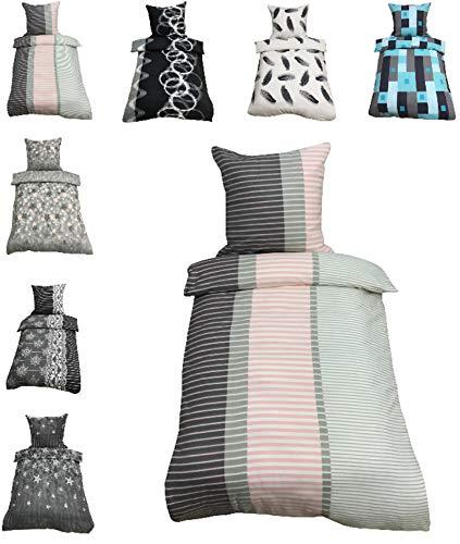 Leonado-Vicenti Thermofleece Bettwäsche 2 TLG / 4 TLG / 3 TLG Flausch Winter Garnitur Bettbezüge, Maße:4 teilig 135x200 cm, Farbe:Gestreift grau rosa