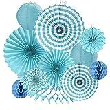 Cizen Set de Decoración de Fiesta, Nido de Abeja Abanico de Papel Pompom Flores para la Fiesta de Cumpleaños Festival de Bodas (Azul)