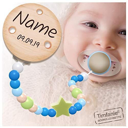Handmade Schnullerkette mit Namen | für Jungen | Timfanie® blau-lemon-Star
