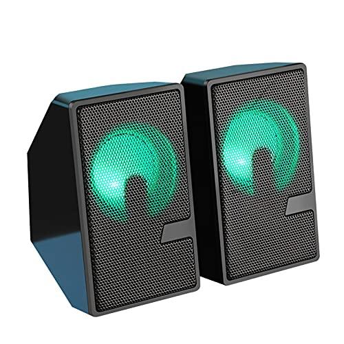 persiverney-AT Altavoces Luminosos para computadora Altavoces con Cable USB con Sonido estéreo de 360 Grados Luz Envolvente de Peso para Viajes, campamentos Value