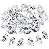 TsunNee 60 bottoni con strass e fibbia in metallo, 20 mm, trasparenti, per cucito, divano, letto, testiera e decorazione fai da te