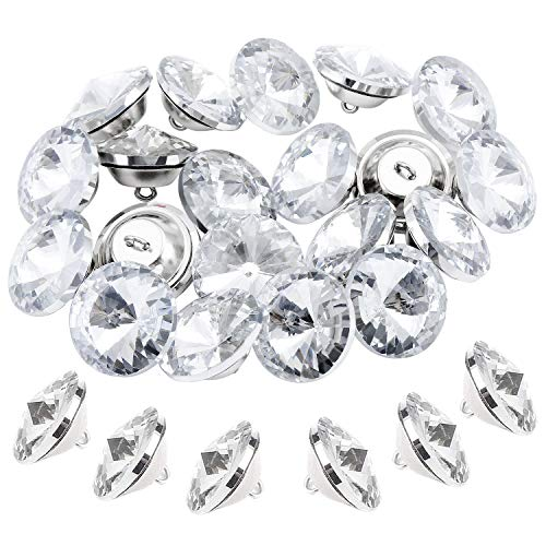 TsunNee 60 botones de cristal con hebilla de metal, 20 mm, transparentes para coser sofá cama, cabecero, manualidades, decoración