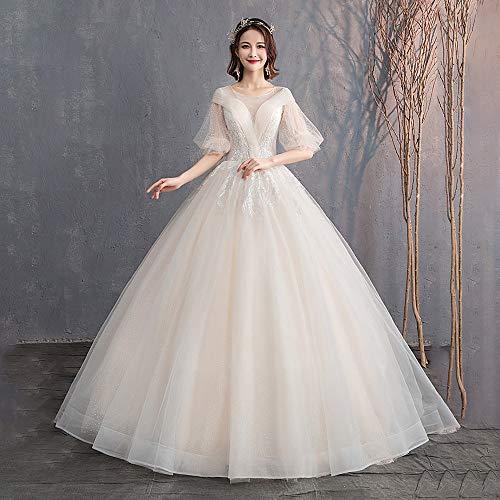 roroz Brautkleider Hochzeitskleider Prinzessin Champagner, Sexy Neckholder Brautkleid Lang Standesamt, Vintage Spitze A Linie Abendkleider Abend Party,Champagne-XL