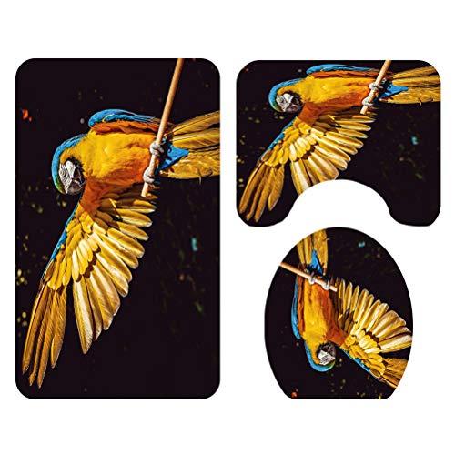 TOPBATHY 3 Piezas Pájaro Conjunto de alfombras de baño Baño Alfombra Aseo Alfombra de Contorno Cubierta de Tapa de Asiento de Inodoro
