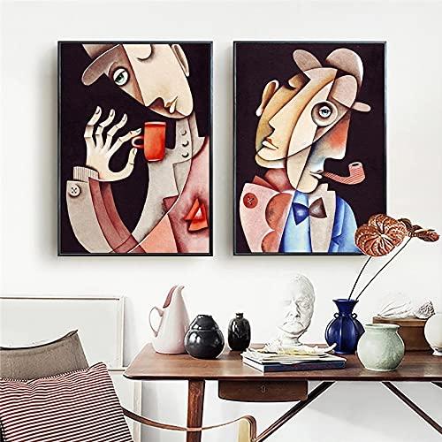 Arte De La Lona Pintor Famoso Personaje Abstracto Mural PóSter HabitacióN Familiar HabitacióN De Los NiñOs DecoracióN De La Pared Del Dormitorio-50x70cmx2 Sin Marco