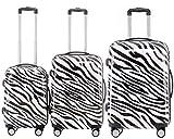 BEIBYE Polycarbonat Hartschale Koffer 2060 Trolley Reisekoffer Reisekofferset Beutycase 3er oder 4er Set (Zebra)