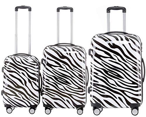 BEIBYE Polycarbonat Hartschale Koffer 2060 Trolley Reisekoffer Reisekofferset Beutycase 3er oder 4er Set (Zebra Stripes)