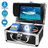 Anysun Telecamera per Pesca Subacquea, Sistema di Registrazione DVR Funzione di Temperatura e profondità, Impermeabilità IP68 Camera 7'' con Monitor LCD A Colori con Cavo da 30m (SD da 8GB Inclusa)