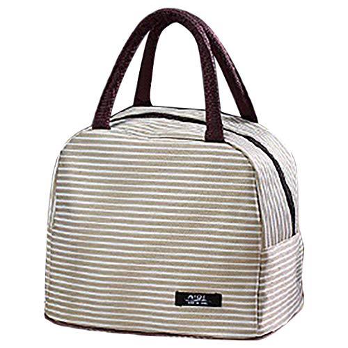 Lunch tas geïsoleerde lichte draagbare lunch handtas lunch tas tas voor op reis, beige (beige) - 10