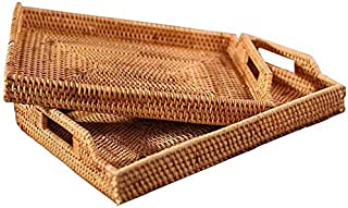 2PCS Hand-Woven Rattan Serving Tray with Handles Handmade Serving Basket Rectangular Fruits/Snack/Candy/Food Organizer Kit...