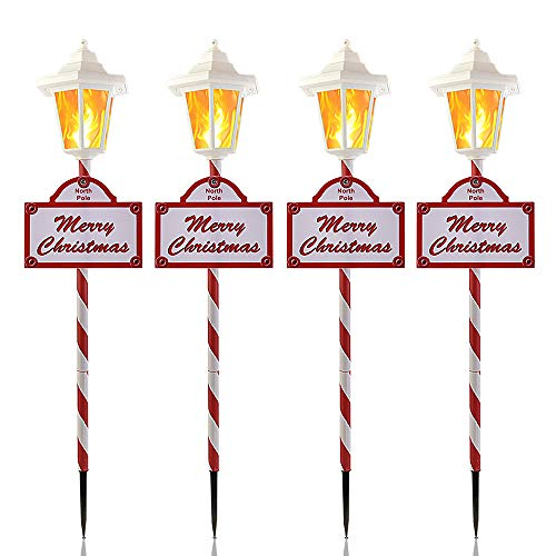 Christmas Solar Pathway Lights Outdoor - 4 Pack Waterproof Flickering Flames Candy Stake Lights, 12 Bright LED for Christmas Patio, Yard, Driveway Decoration