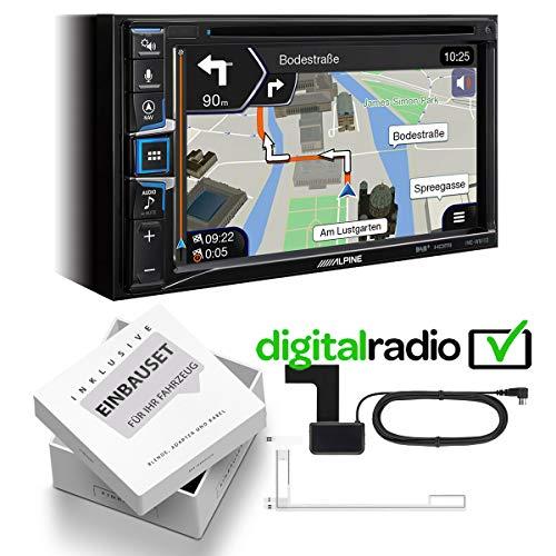 Alpine INE-W611D 2 DIN Navi met DAB incl. antenne compatibel met Apple Car Play en Andoid auto geschikt voor Hyundai i10, 2008-2013, Rubbertouch zwart