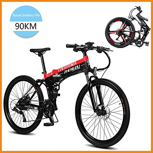 SupShop E-Bike Mountainbike Faltbare Elektrofahrrad, E-Mountainbike Rahmen Aus Aluminiumlegierung mit Scheibenbremsen 3 Geschwindigkeit und 48V 10AH Lithium Batterie, für Männer Frauen Stadtverkehr