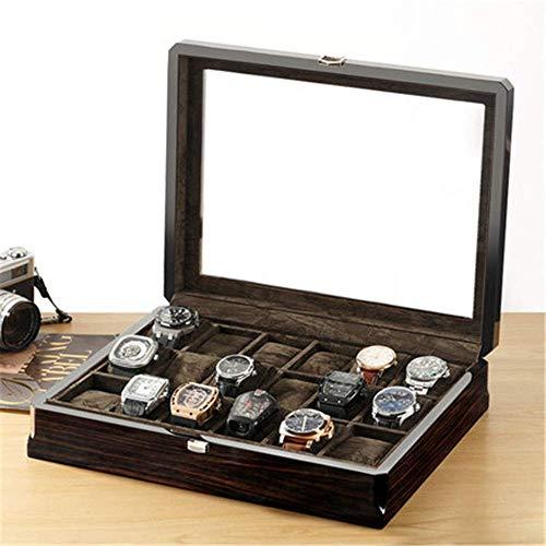 Opbergkist Watch Box 18 sleuven horlogedoos sieradenopbergdoos glazen dak van hout klok opslagbox display box hosting van uw horloges netjes (kleur: bruin, maat: 375x305x85mm)
