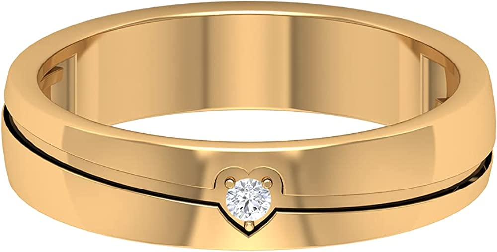 Unisex Gold Band Ring with Diamond Solitaire