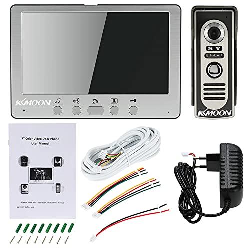 KKmoon Sistema de Videoportero con Cable de Intercomunicador Visual Timbre Panel de Aleación Desbloqueo de Visión Nocturna por Infrarrojos Resistente a la Lluvia para Vigilancia en El hogar