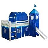 Homestyle4u 1441, Kinder Tunnel Für Hochbett, Blau, Baumwolle, 90 cm Breit - 2