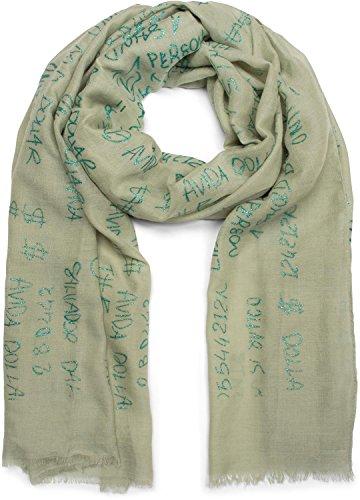 styleBREAKER unifarbener Schal mit Glitzer Metallic Schrift und Fransen, Tuch, Damen 01016151, Farbe:Oliv