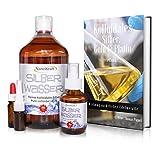 Kolloidales Silber 1000ml / 50ppm, Silberwasser mit Sprühflasche 100 ml, Nasensprayflasche, Pipettenflasche, Messbecher, E-Book in 5 Sprachen zum Download, Laborgeprüft, Hohe Konzentration