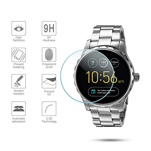Diruite 3-Pack for Fossil Q Marshal Gen 2 Smart Watch Tempered Glass Screen Protector [Anti-Scratch] [Perfectly Fit] [Optimized Version]