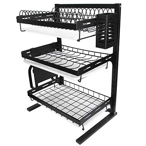 Estante para almacenamiento de platos, estante para platos de acero inoxidable de 16.1 x 11.8 x 22.4 pulgadas con hebilla para cocina para fregadero para gabinete