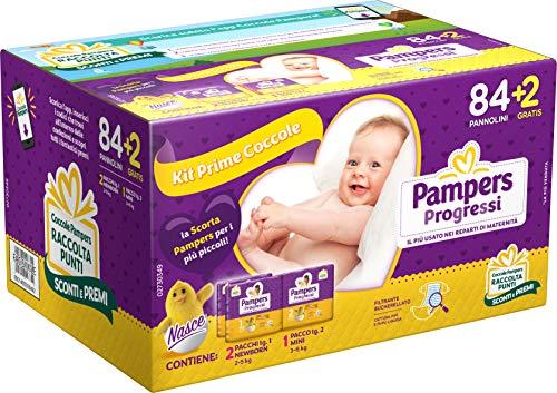 Pamper Progressi Primi Giorni, 86 Pannolini, 2 Pacchi Taglia 1, 2-5 kg, e 1 Pacco Taglia 2, 3-6 kg