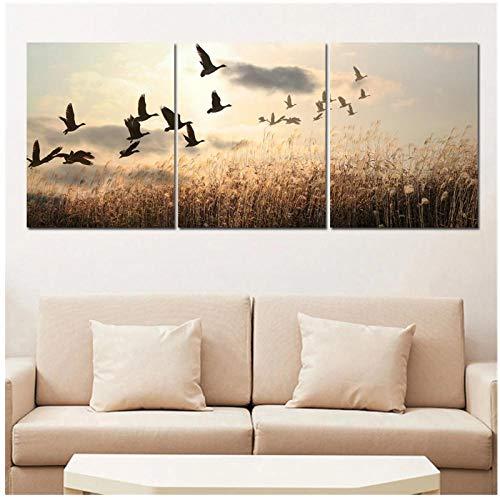 FUXUERUI Pinturas de pájaros nórdicos paisaje pared arte imagen lienzo impresión cartel colgante pintura para decoración del hogar /40x50cmx3 sin marco