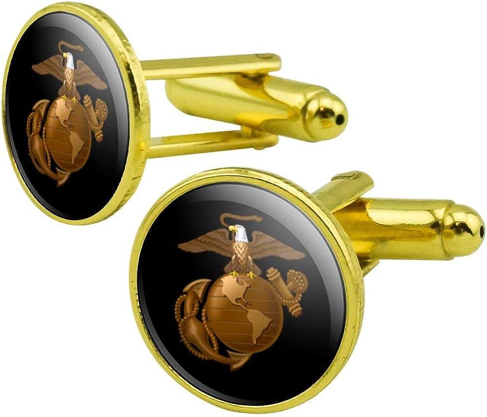 GRAPHICS & MORE Marines Golden Logo on Black Licensed Round Cufflink Set Gold Color