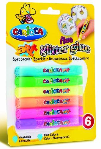 Carioca 42111 - Glitter Glue Blister Confezione, 10.5 ml, 6 Colori Fluo, Colla Colorata per Decorazioni