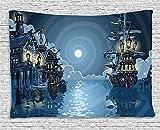 Giow Piraten-Tapisserie, Fantasie-Abenteuer-Insel-Feen-Geheimnis-Schiffe Piraten-Bucht-Bucht wirbelte Mondstrahlen, Wandbehang für Schlafzimmer-Wohnzimmer-Schlafsaal, 80 W x 60 L Zoll,...