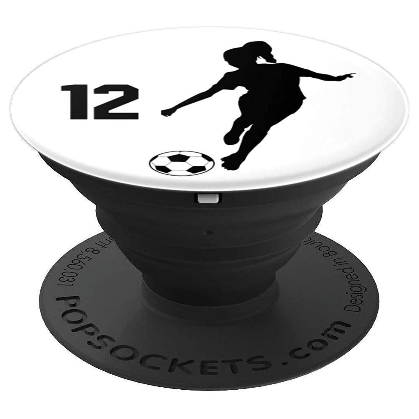 Number 12, #12, Soccer Gifts for Women, Girls, Teens, - PopSockets Grip and Stand for Phones and Tablets