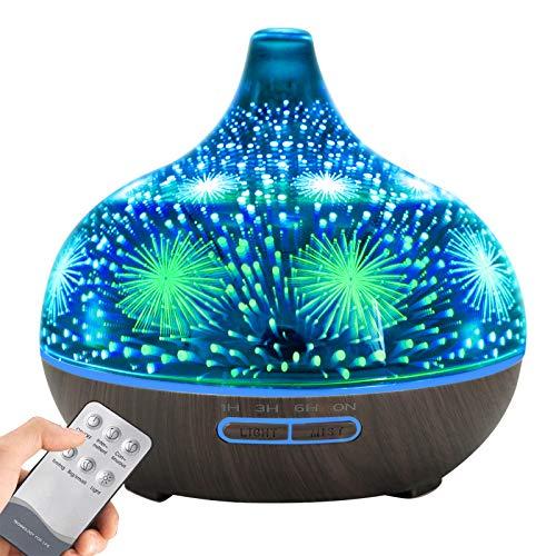 KOSIEJINN 500mL Diffusor für die Aromatherapie Öle Diffusor Nebelbefeuchter Handgemachter 3D-Luftbefeuchter für ätherische Aromatherapie mit 7 Farben LED für Zuhause,Baby, Yoga oder Büro