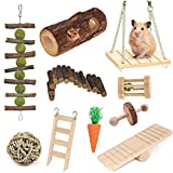 Supmaker Hamster Chew Toys-10 Pack Natural Wooden Guinea Pig Toys Chinchillas Toys Accessories,Teeth Care Molar Toy for Birds Bunny Rabbits Gerbils Rats