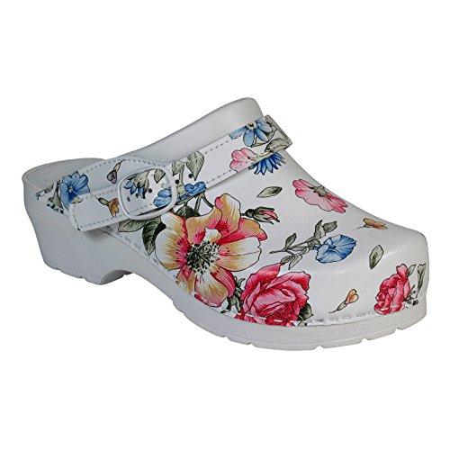 AWC-Footwear Deko-Line - Blumenmuster, Unisex Arbeitsclogs, Mehrfarbig (mehrfarbig mehrfarbig), 40 EU (6.5 UK)