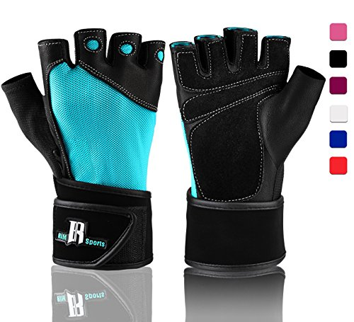 RIMSports Weightlifting Gloves With Wrist Support - Workout Gloves With Wrist Padding For Lifting Weights, Cross Training, Power Lifting, Gym Gloves (Turquoise XS)