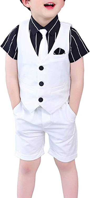Traje Niño Boda 4 Piezas Traje de Ceremonia Conjunto, Chaleco + Camisas + Pantalones Cortos + Corbata