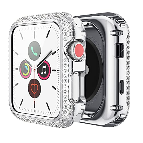 wlooo Glitter Diamond Case for Apple Watch 38mm Series 3/2/1, Bling Crystal Shiny Rhinestone Girls Women Cover Stainless Metal Bezel Scratchproof Protective Case for iWatch Series 3 2 1 (38mm, Silver)